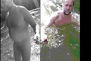 nudist bear dipping alongside shorn water
