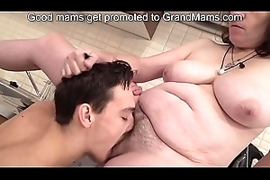 Bossy granny enjoys a young load of shit