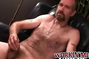 Horn-mad mature carpenter Bryant making his cock cum indestructible