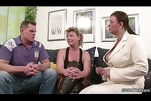 Yoke German Chubby Mamma MILFs suprise his Skimp with Threesome