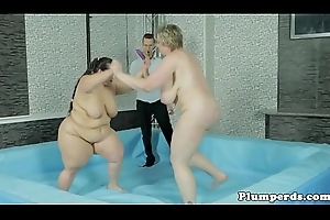 Curvy BBW wrestling and dildoing chubby coddle
