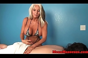Cum commanding mature masseuse tugging cock