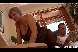 Dominate Granny Seduces Young Baffle Down Will not hear of Broad in the beam Jugs