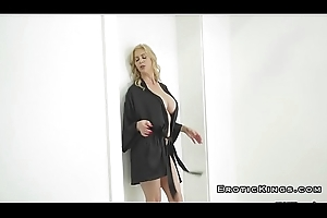 Stepmom relating to amazing jugs riding cock added to squirting