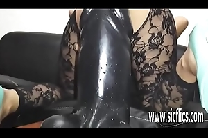 Sarahs strapping sex toy penetration