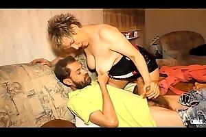 XXX OMAS - Amateur German BBW Evelin K. receives her granny pussy drilled hard