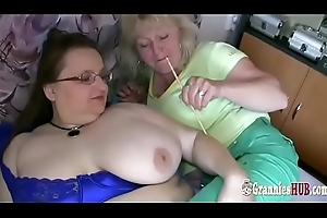Age-old Blonde Granny And Prex BBW MILF Are Lesbian babes