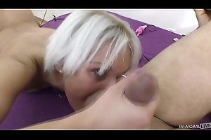 Euro MILF Cecilia Scott does rimjob with an increment of has huge orgasms