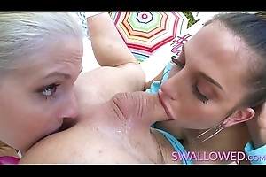 SWALLOWED Two stunning busty milfs gagging on a everlasting flannel
