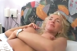 Busty Tow-headed Granny Gets Will not hear of Muted Pussy Screwed