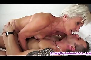 Handsome granny enjoys riding hard weasel words