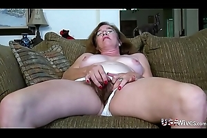 USAwives Hairy Granny Pusssy Drilled All over Copulation Toy
