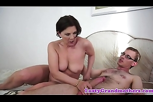 Chubby grandma sucking and riding load of shit