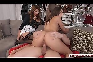 Upper case bosom stepmom added to hot teen ffm 3way