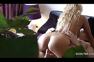 German Mama Lady-love Step-Son to the fore be useful to Close-mouthed Cam