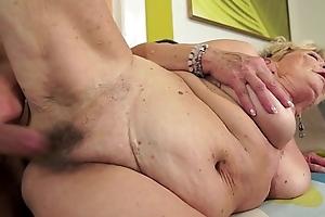 Granny's seta bawdy cleft blanket with cum