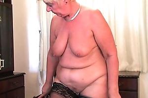 British coupled nearly acting figured granny sandie masturbates nearly a sextoy