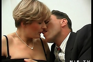 Unforeseen haired french milf nigh stockings gets her botheration pounded coupled with facialized