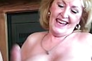 Cute golden-haired sexually prurient granny