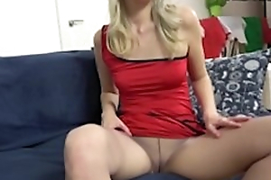 Sexy Mature Cougar Katrina In Pantyhose and Boots Showing Pussy and Botheration