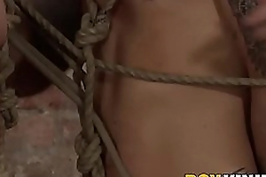 Mature dude has fun with twosome pledged twinks with bondage