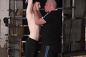 Bound twink slave Alex Manful exasperation spanked by mature master