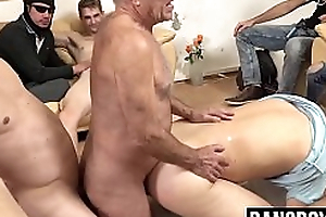 Mature dude gets filled in the long run b for a long time an orgy plays parts in the matter of him