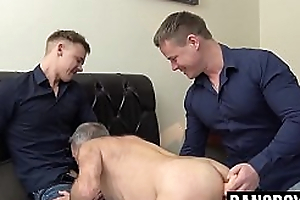 Mature cocksucker toyed off out of one's mind jocks in ancient added to young 3way