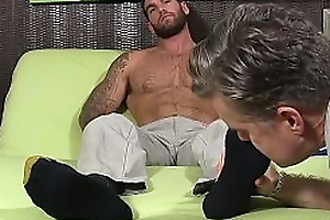 Hunky suppliant wide beard Chase Lachance licked by mature drag queen